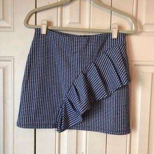 Topshop Skirts - NWT Topshop Blue Gingham Ruffle Skirt 6